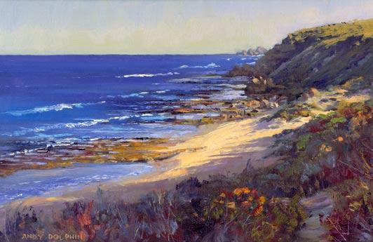 Dawn - Yallingup Oil on panel. 255x 355mm. Andy Dolphin 2002 This picturesque bay lies just a short walk north of the Yallingup townsite.