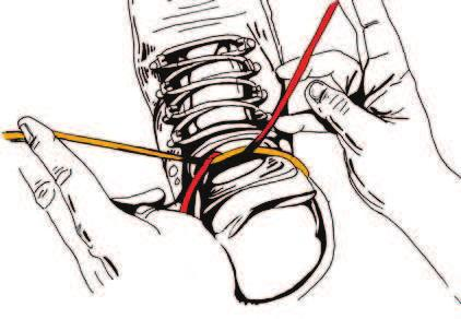 To tie: with a shoe lace in each hand, pass the left lace over and around