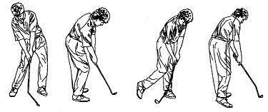 The left leg should be slightly flexed but in the process of straightening. Because of the weight shift, the right heel will be pulled slightly off the ground.