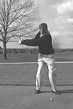 From the rear view, the club shaft should be pointed to the target line and the right arm should not be visible. A B C D A.
