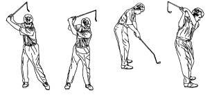 BREAKPOINT 4: AT THE TOP At the top of the back swing, your shoulders should be rotated 90 degrees to the target line with