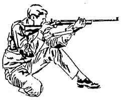POSITIONS - RIFLE Prone: Body extended on the ground, head toward the target. The rifle will be supported by both hands and one shoulder only.