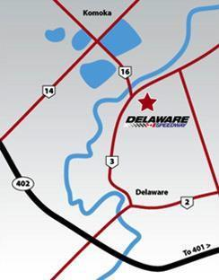 Directions to Delaware Speedway, Monday, May 21 st, 2018. GPS: 1640 Gideon Drive, Delaware, ON, Canada N0L 1E0 From East of London: Take Hwy. 401 westbound to Hwy 402 and head west.