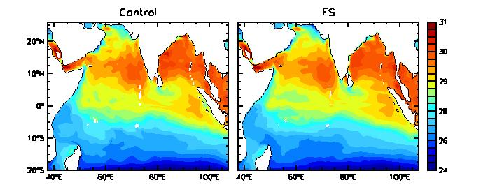 4. ARABIAN SEA MINI WARM POOL The seasonal and interannual evolution of the Indian Ocean SST in the model occurs in a manner that closely matches with the observations [4,5,6].