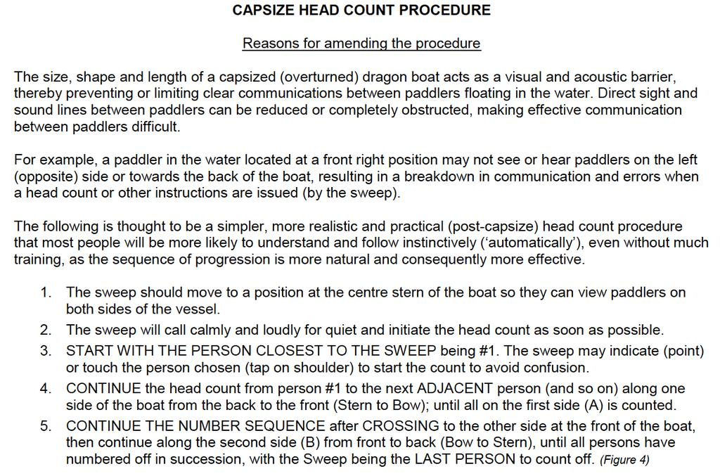 Capsize Drill What to Do: In the event of a Dragon Boat capsizing the Sweep should immediately ensure that all the crew are accounted for by a head count as outlined below.