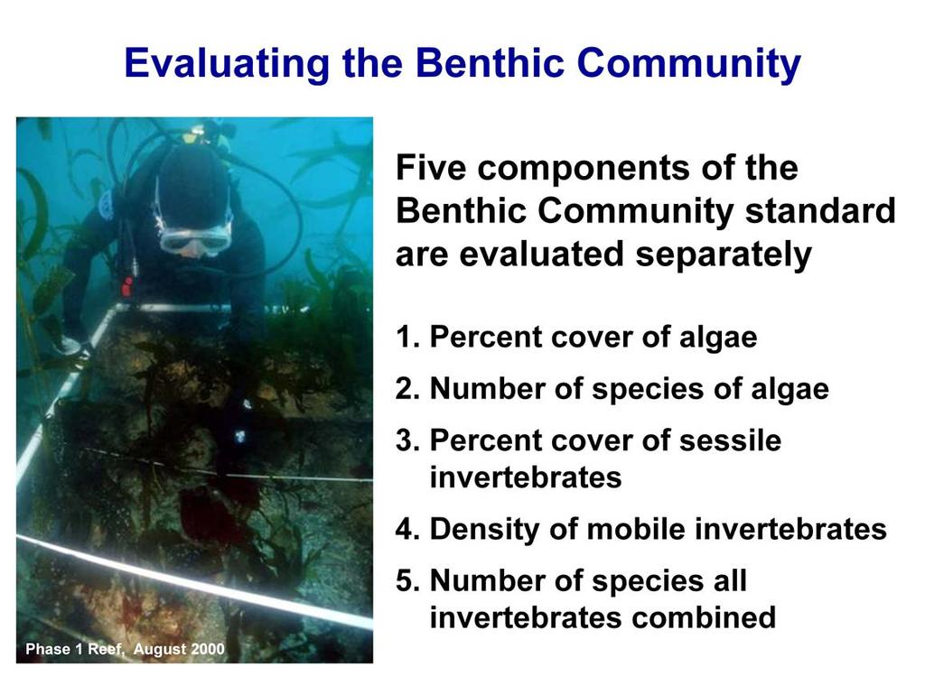 Because it is not possible to evaluate the benthic community standard using a single metric we consider 5 separate components of the benthic community when evaluating this performance standard. 1.