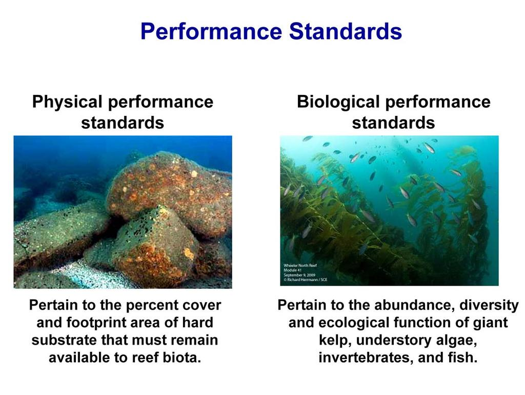 Physical and biological performance standards were established by the CCC to evaluate the success