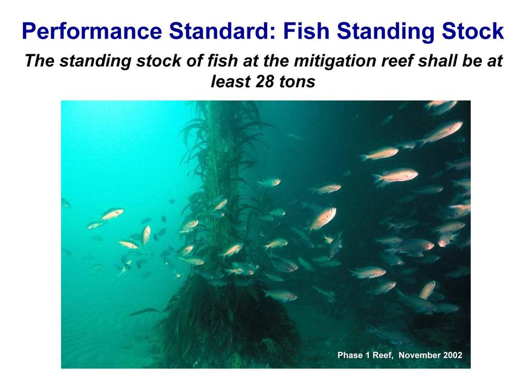 The performance standard for fish biomass is a fixed standard that requires the Wheeler North Reef to support at least 28 US tons of fish, which is the