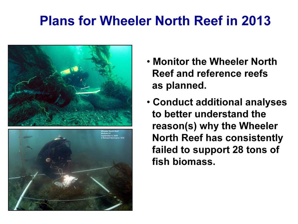 The plan for monitoring in 2013 is to: Continue monitoring the Wheeler North Reef, San Mateo and Barn using the same methods as in previous years, and Conduct additional analyses