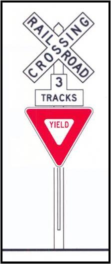 Parallels Track SIGN NAME & MEANING A - Warns of an approaching train. When the red lights are flashing, a train is approaching.