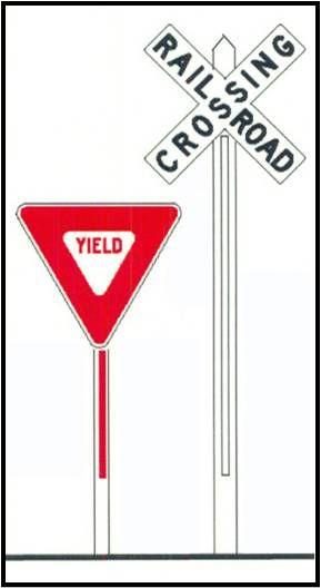 If you see this and a train is approaching, stop and yield to the train. C - A Quiet Zone has been established and train horn may not be sounded when a train is approaching.