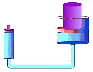 A 500 N weight sits on the small piston of a hydraulic machine in equilibrium. The small piston has area 2.0 cm 2.
