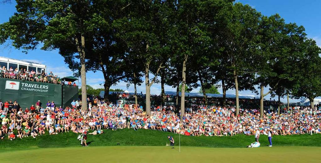 HOSPITALITY OPTIONS Taking in the sights and sounds of a PGA TOUR event can create lasting memories for fans attending the Travelers
