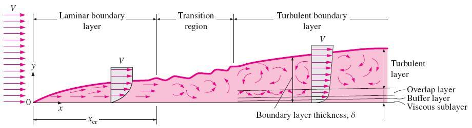 11 5 PARALLEL FLOW OVER FLAT PLATES Velocity boundary layer: The region of the flow above the plate bounded by d in which the effects of the viscous shearing forces caused by fluid viscosity are felt.