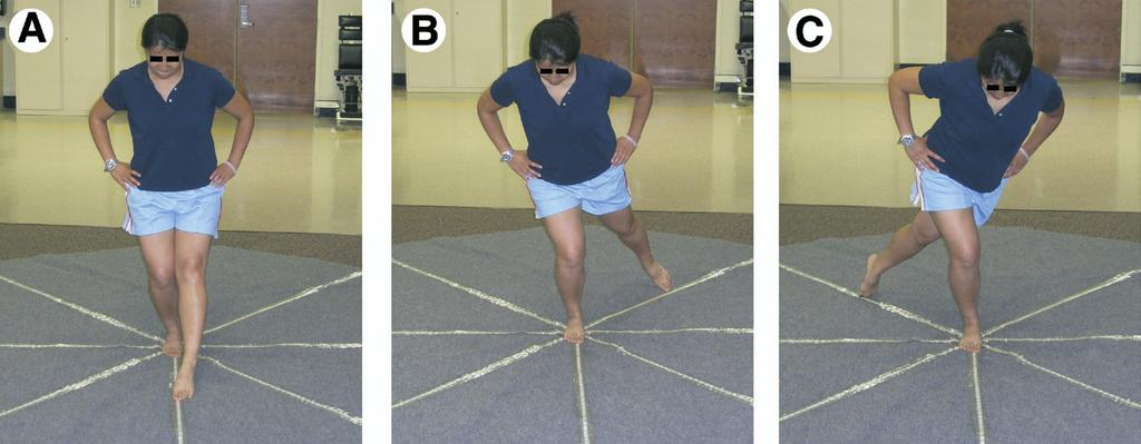 DYNAMIC POSTURAL CONTROL MEASUREMENT, Robinson 365 Fig 1. (A) Anterior reach direction, (B) posteromedial reach direction, and (C) posterolateral reach direction.