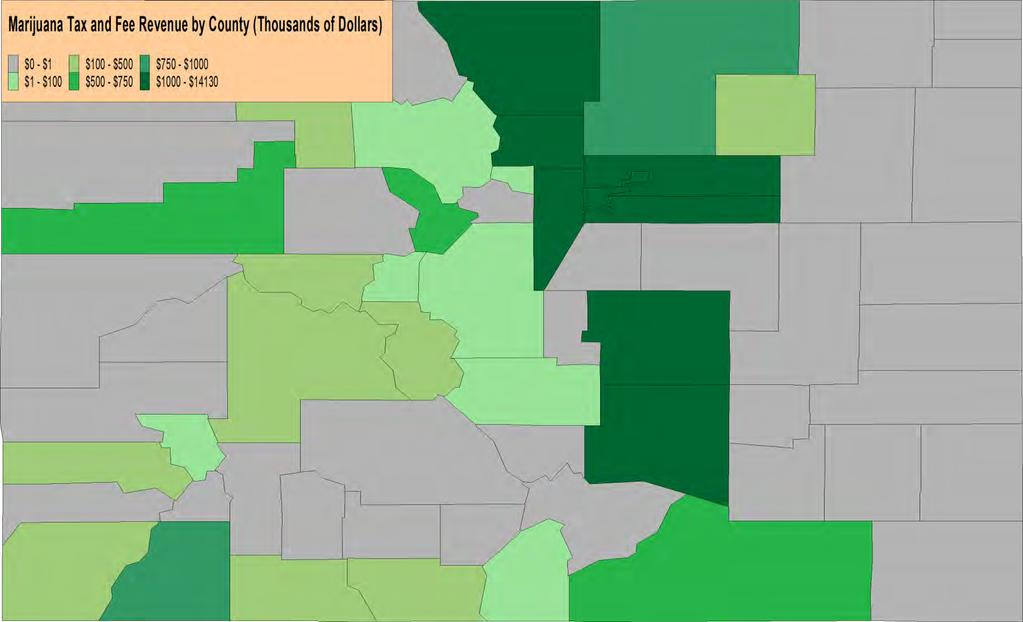County Marijuana Tax and Fee Revenue Annual 2016, Grey Counties Forbid Medical and Retail