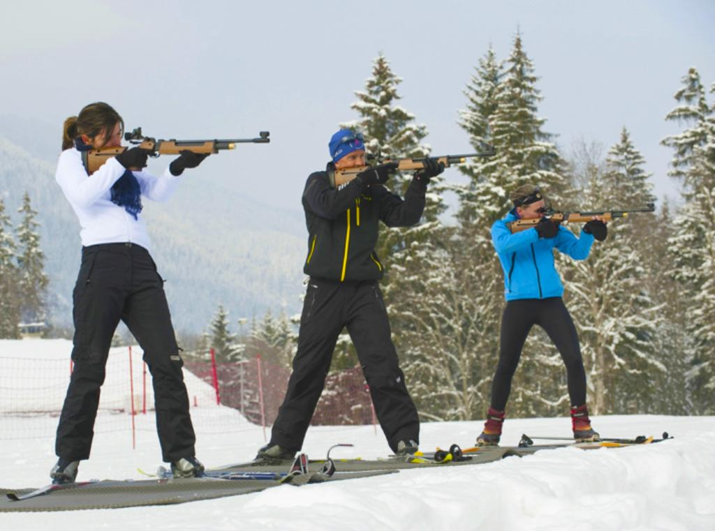 BIATHLON Have you ever heard about the biathlon discipline? It combines cross country skiing and shooting (air brush). Giardino Mountain offers you to try this discipline.
