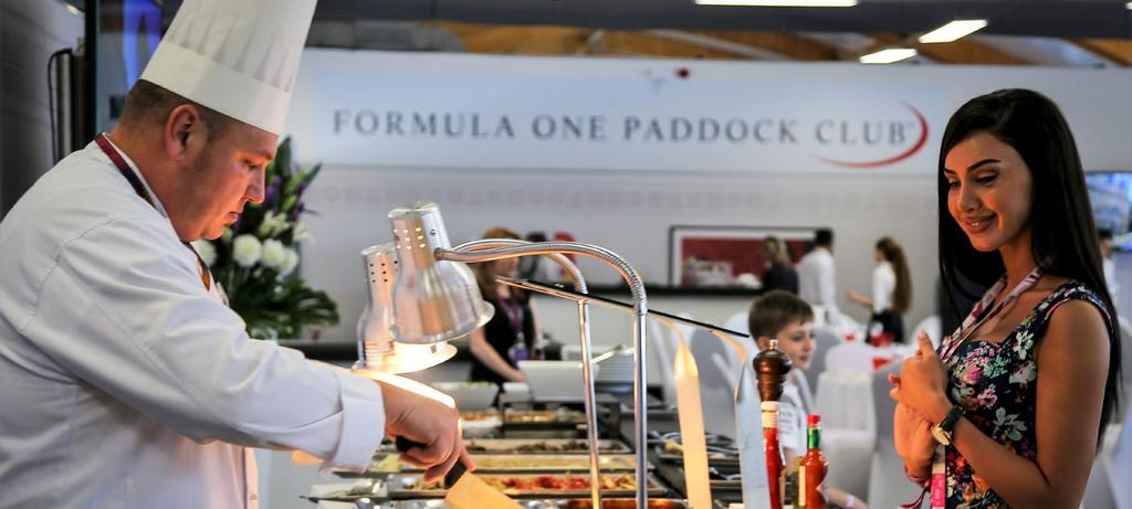 LEGEND Located directly above the team garages and overlooking the start/finish line, the Formula One Paddock Club is the center of luxury for race goers.
