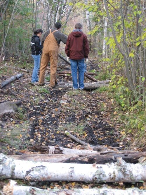 A partnership was formed with the school and the City of Kenora to clear and construct the sub-base of this trail, so