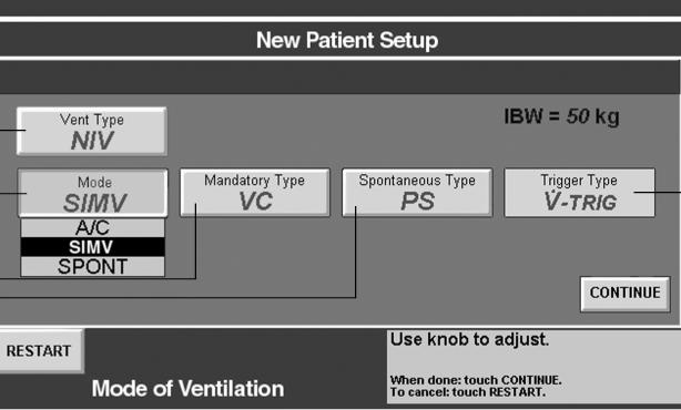 1 2 5 3 4 1. Vent Type Button: New button used to select between INVASIVE or NIV. 2. Breath Mode: Only A/C, SIMV, and SPONT modes are allowed with NIV. 3. Mandatory Type: Only VC and PC are available with NIV.