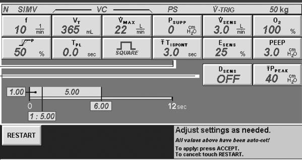 N in header indicates NIV Vent Type. 2T I SPONT setting button. Note D SENS defaults to OFF. Figure 7.