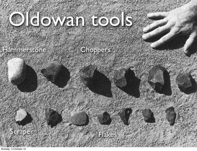 Earliest recognized stone tool culture Oldowan tools found primarily