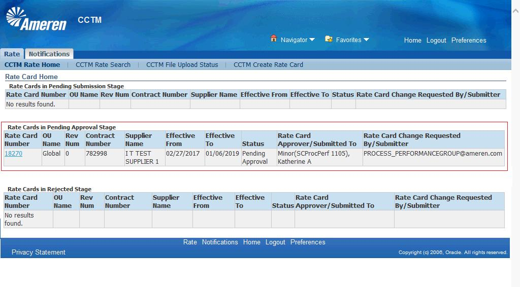 26. You will see your Rate Card in the Rate Cards in Pending Approval Stage section of your Rate Card Home.