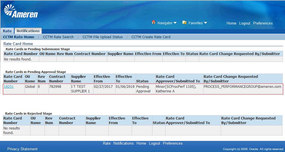 14. You will see your Rate Card in the Rate Cards in Pending Approval Stage section of your Rate Card Home.