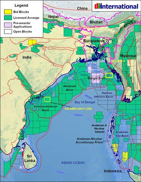Oil and mineral exploration The major sedimentary basins and current blocks under lease in the Bay of Bengal.