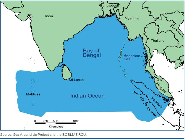 The Bay of Bengal Large Marine Ecosystem (BOBLME) Total maritime area: 6.2 million km 2 EEZ: 4.