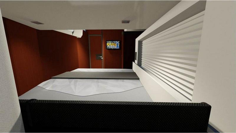 Starboard aft cabin Headroom: 1,91 m / 6 3 1 Double bed (2,04 x 1,40 m / 6 8 x 4 7 ) - slatted bed base - marine mattress (thickness: 120 mm / 5 ) Hanging locker - cubby hole lockers - drawer under
