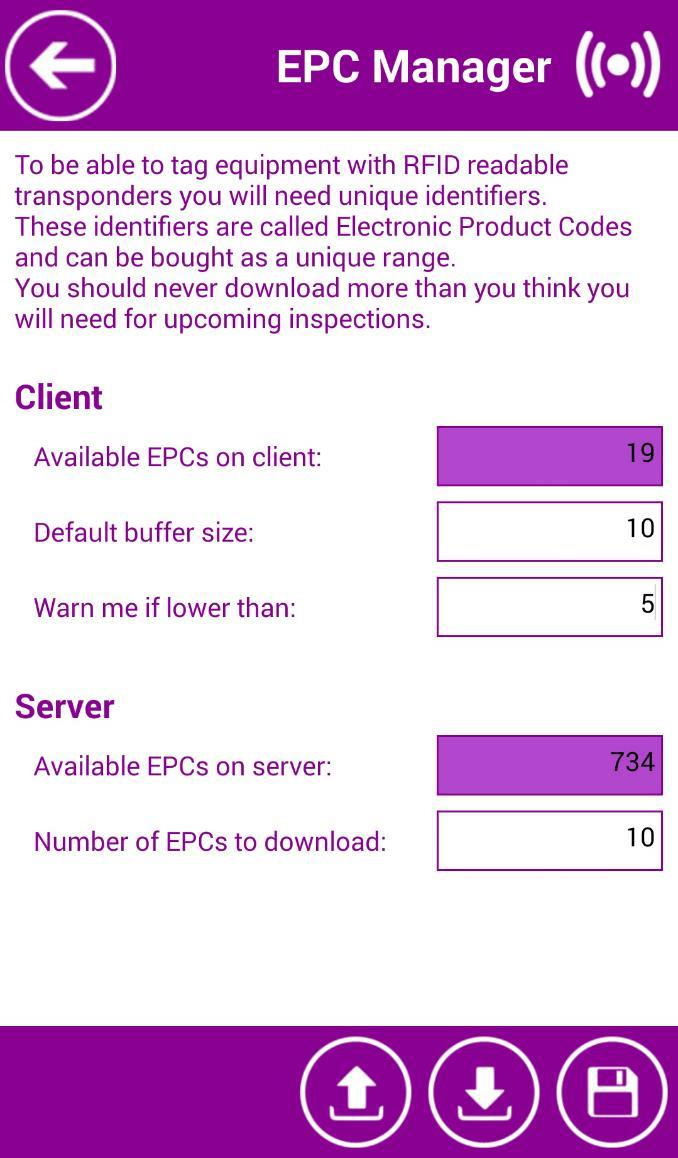 SETTINGS Figure 4: EPC Manager Client: - Available EPCs on client: number of available EPCs already downloaded from the server.