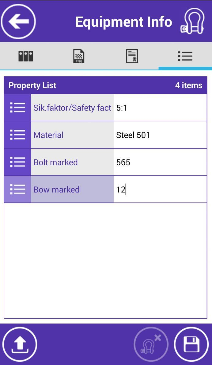 MANAGE EQUIPMENT 4th tab - Properties: - The list of equipment's properties is displayed.
