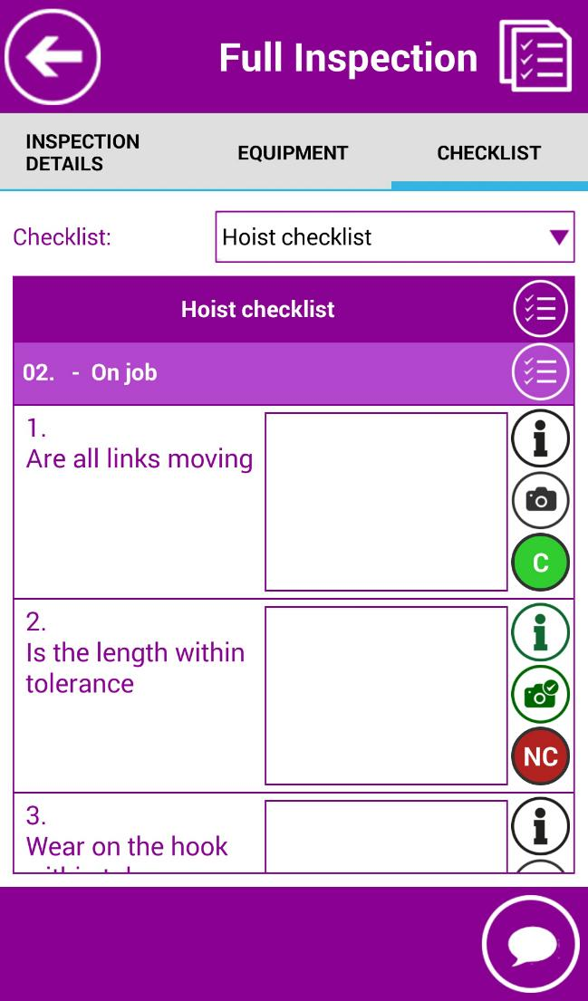 "PERFROM FULL INSPECTION FILL IN CHECKLIST Open ""Check List"" tab. The list of check points is displayed."