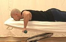 Prone extension The starting position for this exercise is to bend over at the waist so that the affected arm is hanging  While