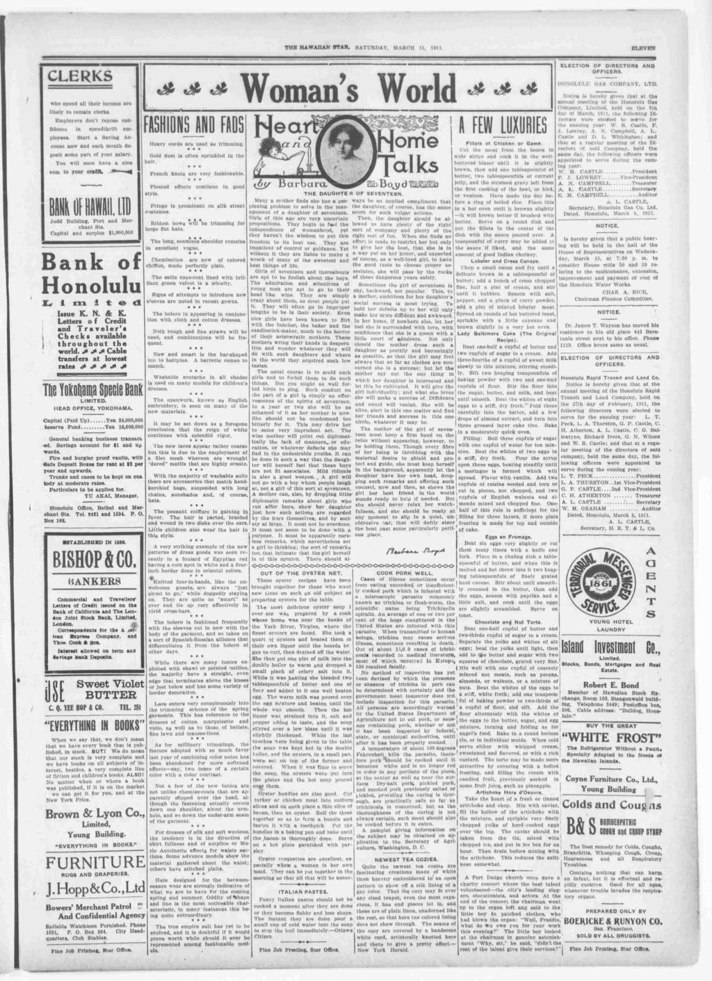 TUB HAWAAN STAR, SATURDAY, MARCH 11, 1911. ELEVEN CLERKS w ELECTON OF DRECTORS AND OFFCERS. ft S HONOLULU OAS COMPANY, LTD.