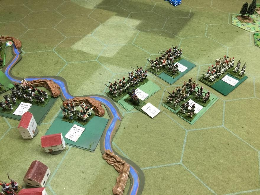 The Spanish right flank swings into action to roll up the French flank The French redeploy on the