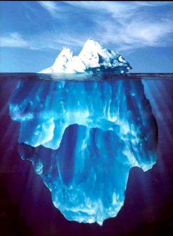 According to Wikipedia: Because the density of pure ice is about 920 kg/m³, and that of sea water about 1025 kg/m³, typically only one-tenth of the volume of an iceberg is above water.