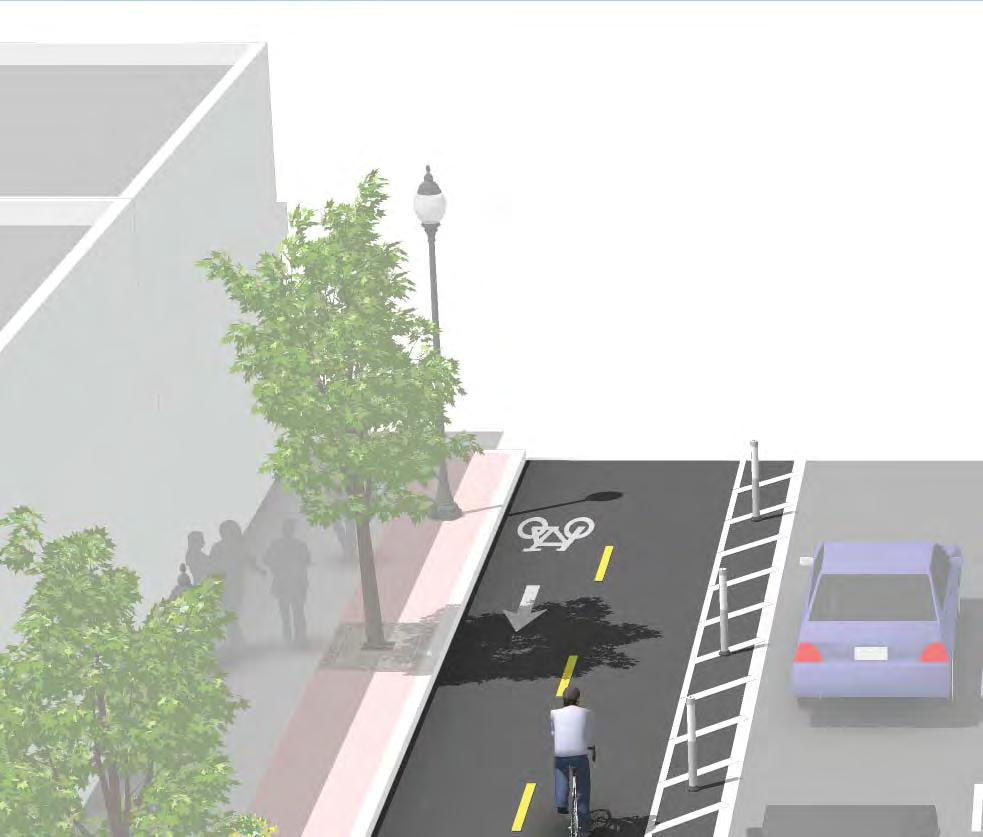 with parking barrier Raised cycle track with mountable curb