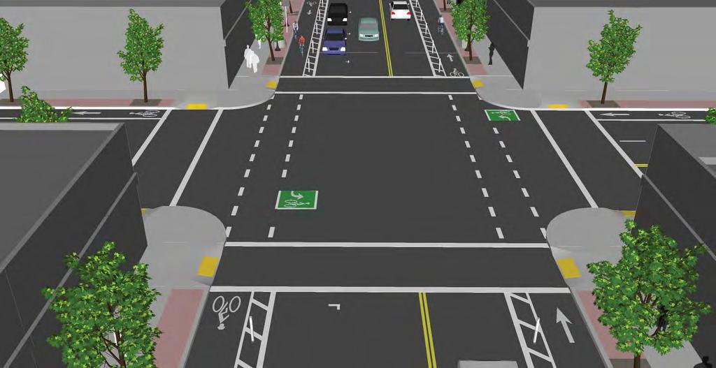 Design Typical Intersections Two At the intersection with another two way cycle track two