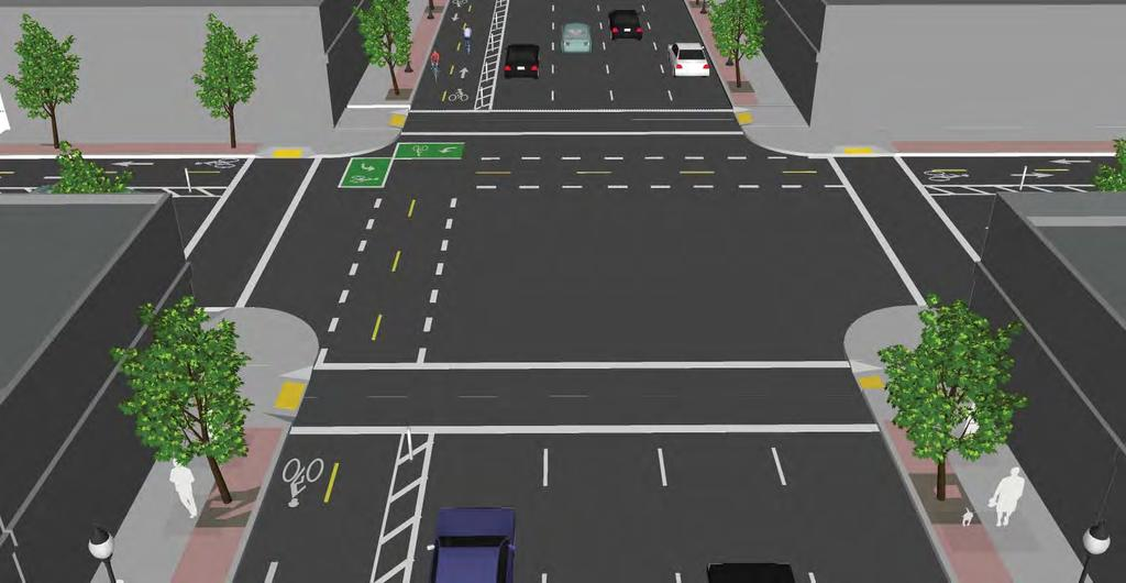 Left Side At the intersection with a two way cycle track a two stage turn box is added for