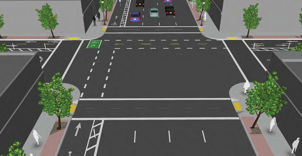 Transit s on Two Road At the intersection with a cycle track a two stage turn boxes are