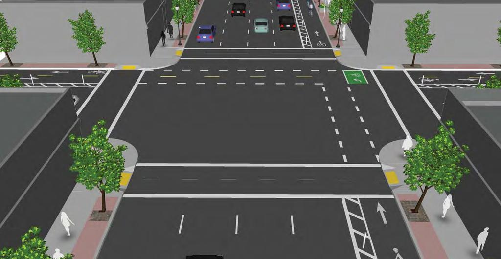 s at Bike s Two stage turn boxes for left turning cyclists are located in either the shadow