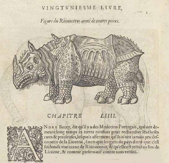 Unicorns, Unicornis and Bicornis The Works of M. Ambroise Paré,... : with figures & portraits both of anatomy and many surgical instruments, & several beasts. Paré, Ambroise (1509?-1590).