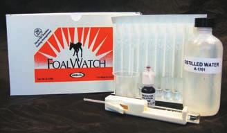 Because FoalWatch is based on proven chemistry, you can now rest easy at night. Our test measures the concentration of calcium in the mare s colostrum, which is known to rise sharply before birth.