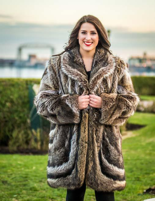 Model 110, Stand Up Collar, Dolman Sleeves, Diagonal Cuff, Zipper, 8 Pelts, $727 Bleached Muskrat Vest E.