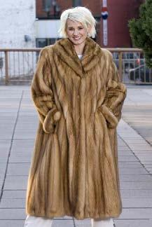 Bleached Marten Coat A. Full Collar, Dolman Sleeves, Full Cuff, Let Out Style, 90 Pelts, $994 A.