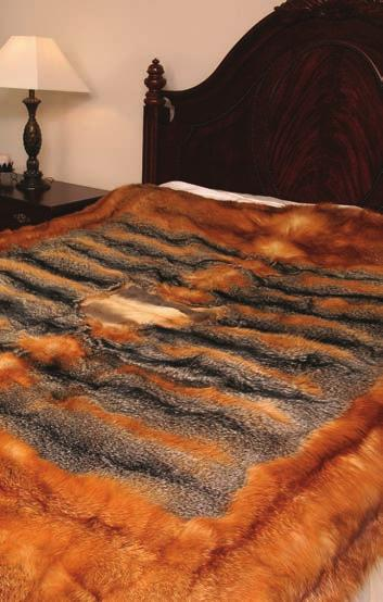12 pelts, $550 Raccoon King Bed Spread w/tails E.