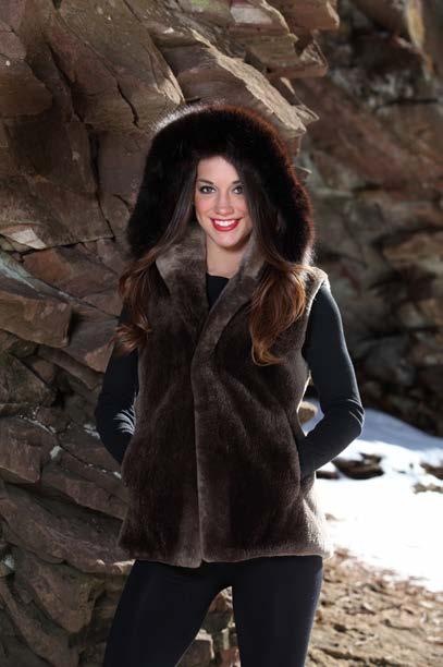 Detachable Hood with Fox Trim, 6 Pelts, $525 Plucked, Sheared, Dyed Black Beaver