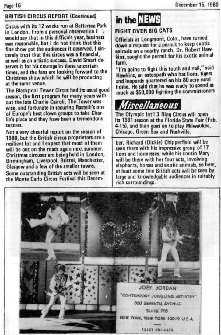 Page 16 December 15, 1980 BRITISH CIRCUS REPORT (Continued) Circus with its 12 weeks run at Battersea Park in London. From a personal observation I.